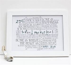 Personalised Silver 25th Wedding Anniversary Print By More