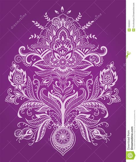 henna lace paisley flower vector stock vector image