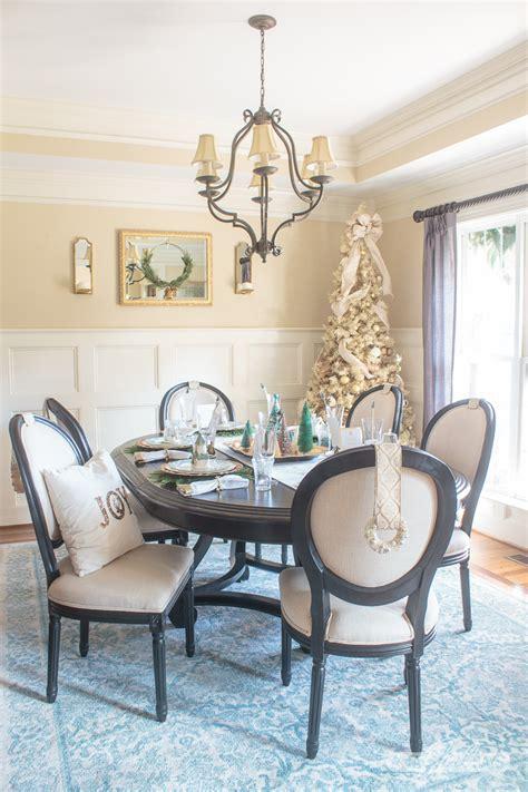christmas table decorations elegant gold aqua dining room