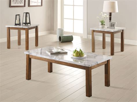 Get 5% in rewards with club o! Coaster 701001 3PC Coffee Table Set - Brown/Faux Marble 701001 at Homelement.com