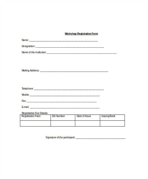 Basic Registration Form Template Registration Form Template 9 Free Pdf Word Documents
