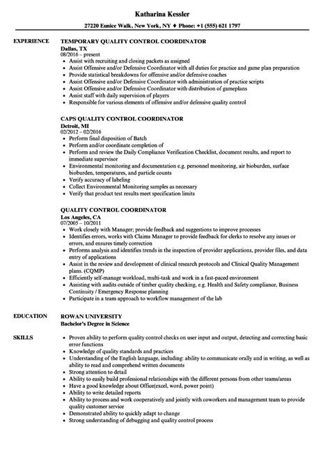 quality control coordinator resume samples velvet jobs