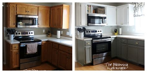 Mixing cabinet finishes works best with strongly contrasting colors so that there is no question that these cabinets are very different. Hometalk | From Oak to Awesome Painted Gray and White ...