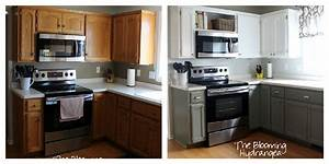 from oak to awesome painted gray and white kitchen cabinets 886