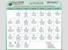 London Telugu Calendar 2009