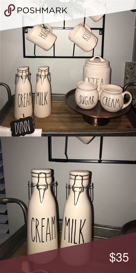rae dunn inspired cream  milk bottles perfect rae dunn match   custom