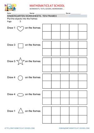 Kindergarten Worksheets Ten Frames Count Up To 5, Up To 10 And Up To 20