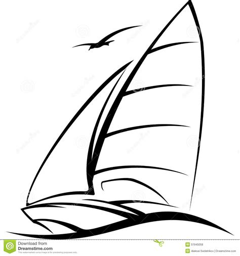 How To Draw A Boat Race by Yacht Sailing On The Wave Vector Illustration Stock Vector