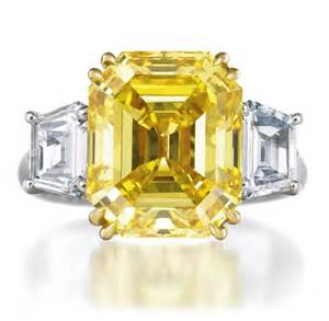yellow engagement ring brilliant emerald cut yellow platinum engagement ring by harry winston onewed