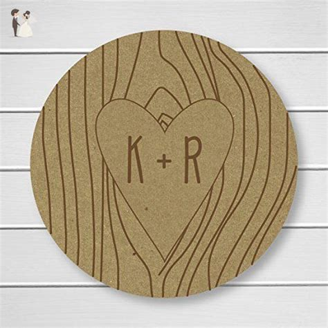 rustic tree carved initials kraft carved initials stickers envelope seals   kr