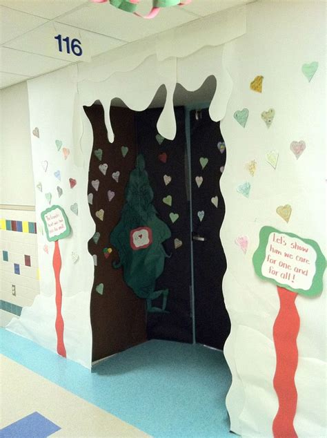 grinch cave door decorating   kids hearts showing