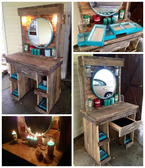 dining table decorations ideas makeup vanity made from reclaimed wooden pallets 1001