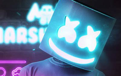 4k Resolution Neon Marshmello Wallpaper 3d by Wallpapers Marshmello Creative Logo Dj For