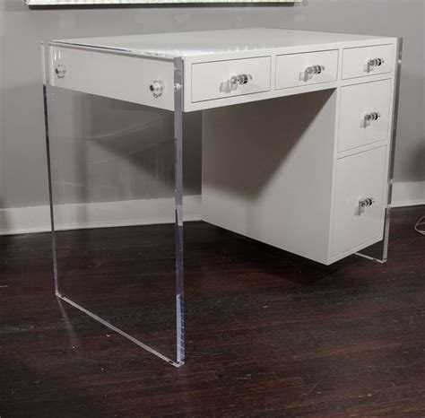 White Lacquer Desk by Custom White Lacquer Desk With Lucite Side Panels For Sale