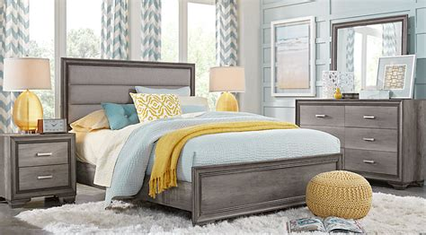gray upholstered bed marlow gray 5 pc panel bedroom bedroom sets