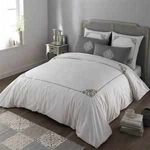 Parure De Lit Marbre : parure de lit 220 x 240 cm en coton blanche grise coleto maisons du monde ~ Melissatoandfro.com Idées de Décoration