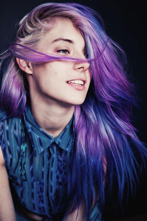 Women Model Purple Hair Dyed Hair Long Hair Face