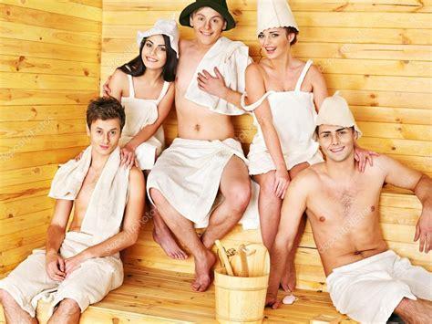 Nude ladies group sauna