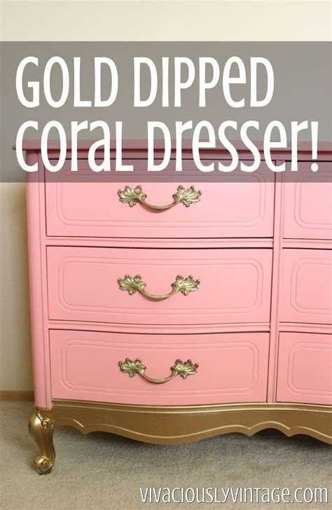 hometalk dresser makeover  coral gold dipped french