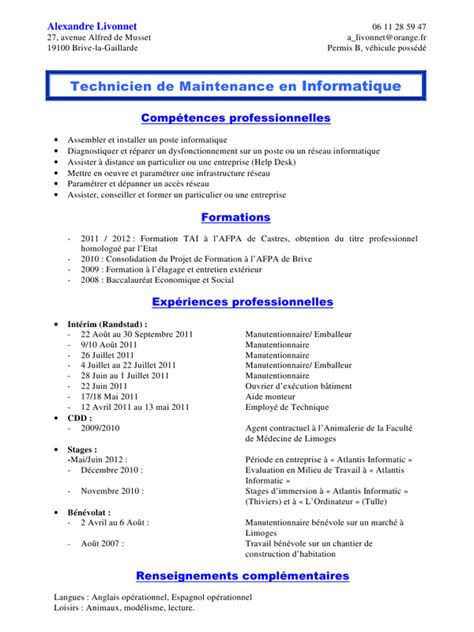Cv En Ligne Gratuit Télécharger by Exemple De Cv Gratuit Manutentionnaire Sle Resume