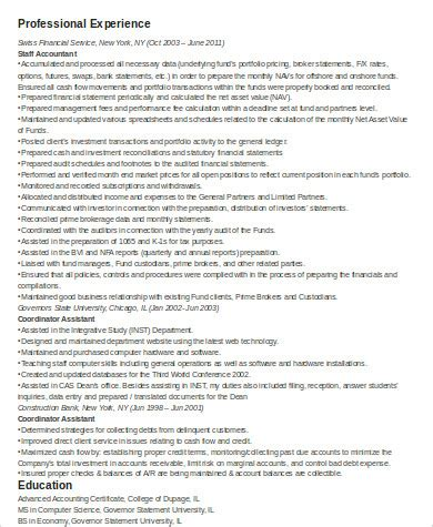 sle staff accountant resume 9 exles in word pdf