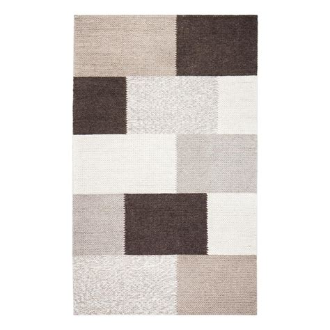9 X 12 Wool Area Rugs by Anji Mountain Rhea Tiled Brown 9 Ft X 12 Ft Wool Blend