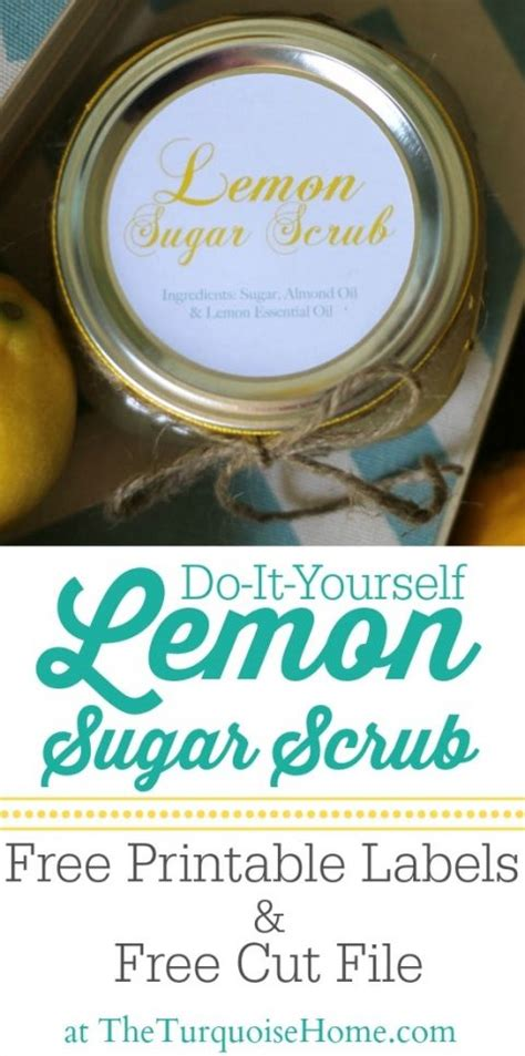 diy lemon sugar scrub   printable labels