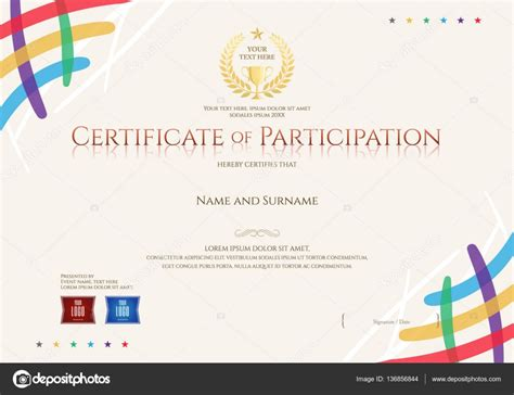 certificate templates with photos certificate of participation template with colorful corner