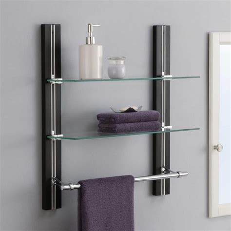 Glass Bathroom Shelves With Towel Rack by Bathroom Shelf With Towel Hooks Bathroom Wall Shelf With