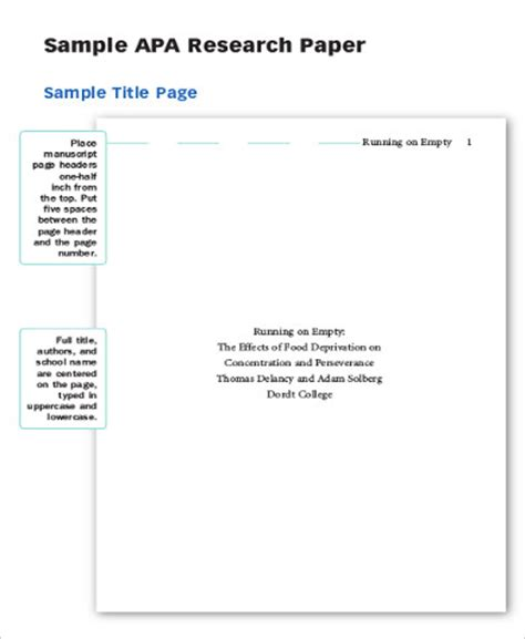 7+ Sample Cover Pages For Research Paper  Sample Templates