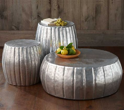 silver metal coffee table  hammered  home