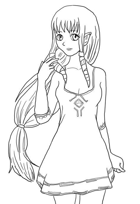 Cette page de coloriage est spécialement dédiée aux filles. Coloriage Fille dans Zelda à imprimer sur COLORIAGES .info