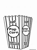 Popcorn Coloring Bucket Clipart Printable Pages Clip Bag Box Crafts Template Preschool Bags Cliparts Theme Tub Carnival Letters Empty Abc sketch template