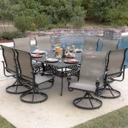 square 8 person patio table la salle 9 sling patio dining set with swivel