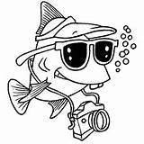 Fish Tourist Coloring Tropical Printable Toddler sketch template