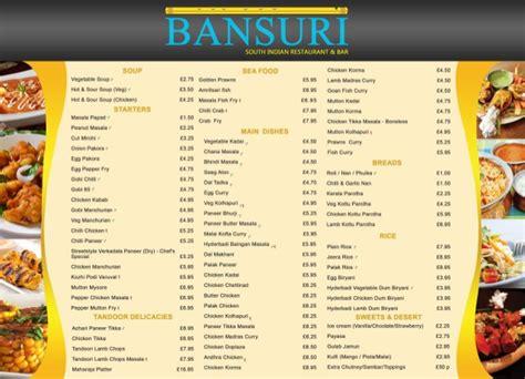 cuisine menu list bansuri table menu