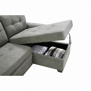 Lucca, Light, Gray, Fabric, Reversible, Sectional, Sleeper, Sofa, Chaise, With, Storage
