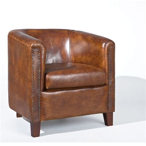 club chair in antique style leather brown