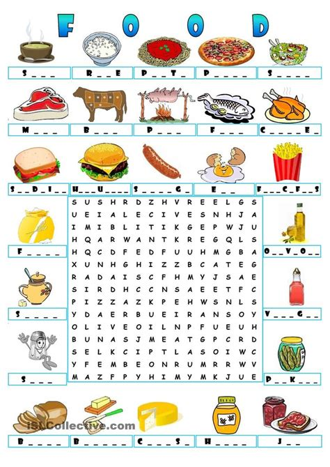 food wordsearch teaching the esl efl