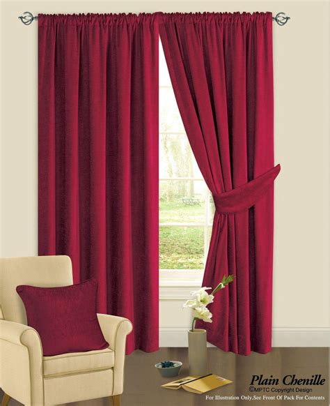 Heavy Curtains by Burgundy Wine Colour Plain Chenille Fabric Pencil Pleat