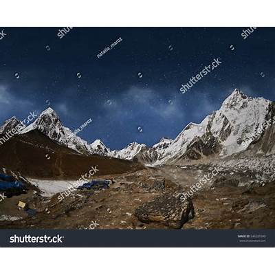 Himalaya Mountain With Star In Night TimeNear Gorak Shep