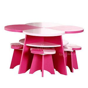 clearance children floral table and 4 chairs pink 462 | s l300