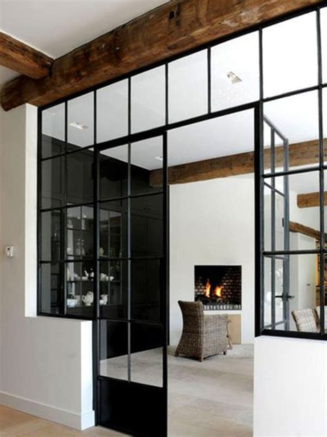 Bauhaus Style Home With Interior Glass Walls by Glass Walls Separation With Style Home