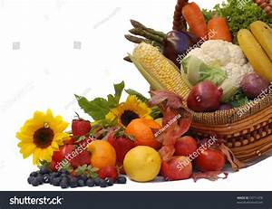 Harvest- Fresh Fruits And Vegetables In A Basket Stock ...