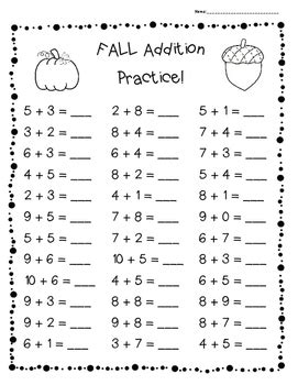 fall addition practice worksheet pack 3 leveled sheets for back to school