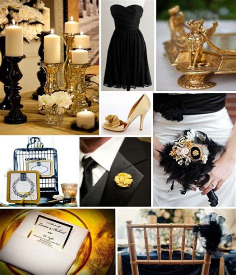the contrast of black and gold for your wedding decor