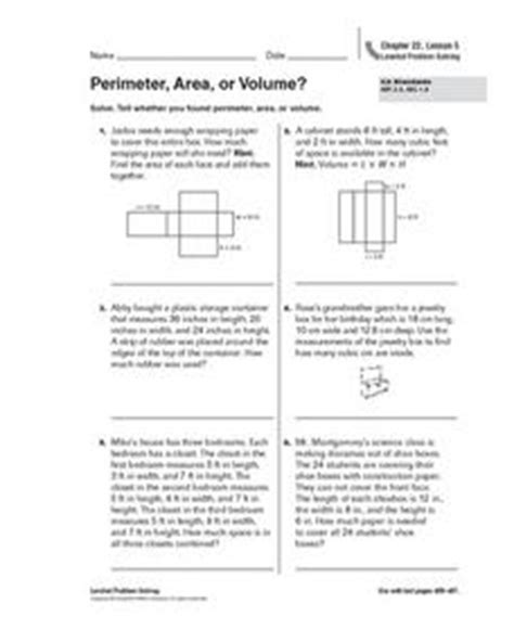 Perimeter, Area Or Volume? Worksheet For 5th Grade  Lesson Planet