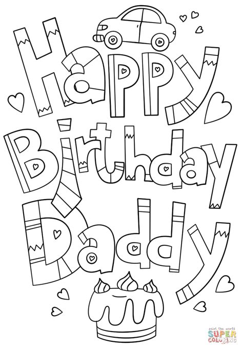 happy birthday daddy doodle coloring page  printable coloring pages