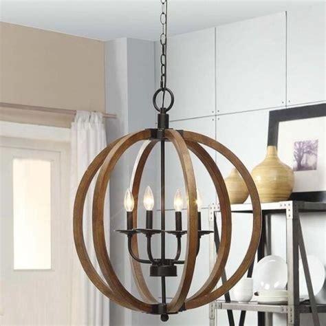 Orb Light Chandelier by Wooden Orb 4 Light Chandelier Rustic Sphere Globe Kitchen