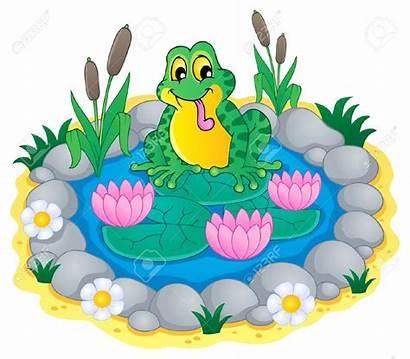 Pond Clipart Garden Pool Frog Theme Illustration